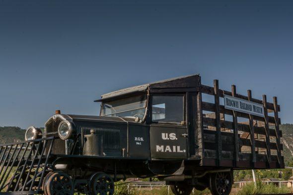 Rail truck on display at Ridgeway