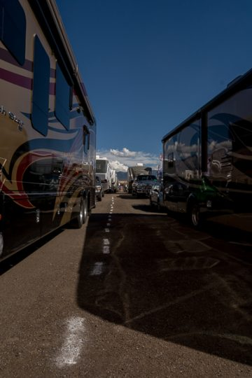 A line of RVs waiting to check in greets volunteers bright and early