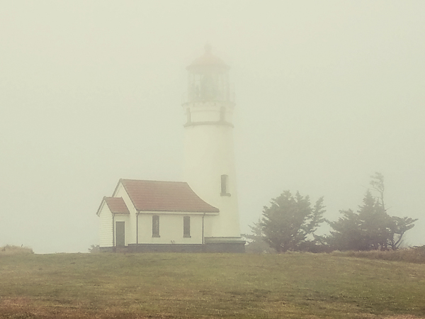 View of Cape Blanco Lighthouse from my volunteer spot on a foggy Sunday afternoon