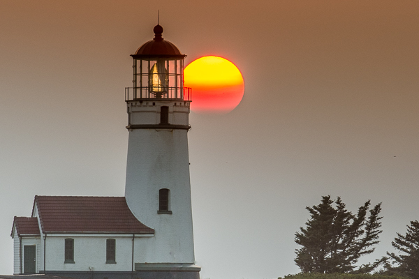 Smoky Sunset at Cape Blanco