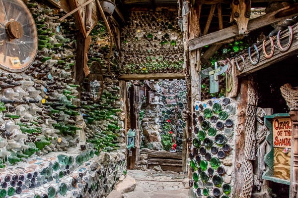 Incredible Walls constructed of mortar and old bottles