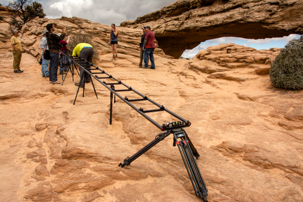 A time lapse setup at Mesa Arch