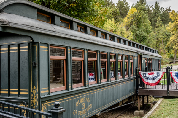 Storm spun tales in this replica railcar used to haul fish for stocking