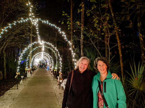 Sherry and I enjoy the Christmas light show at Homosassa