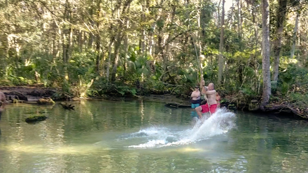 "Matt takes a swing the ""The Crack"" a tricky to find spring on the Chassahowitzka River"