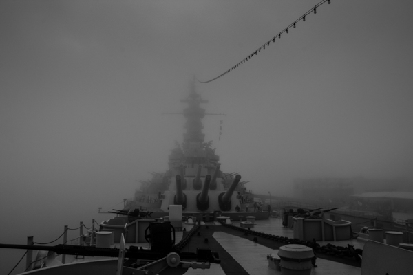 USS Alabama almost looks like a ghost ship