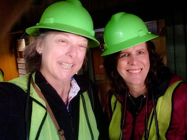 Michele and I suited up to enter the Copper Mine.