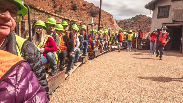 Loaded up on the train for the Queen Mine Tour in Bisbee.