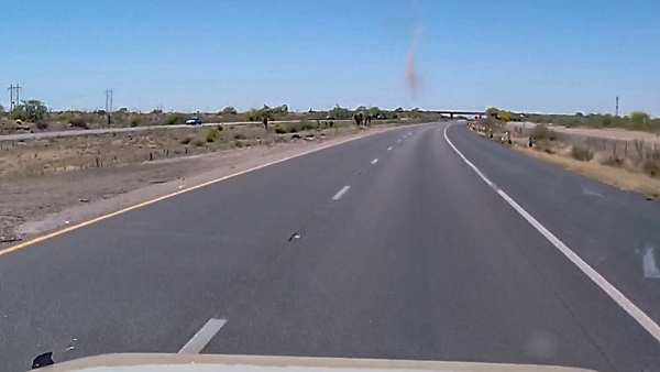 Jane and I see this huge dust devil on the way to Tuscon.