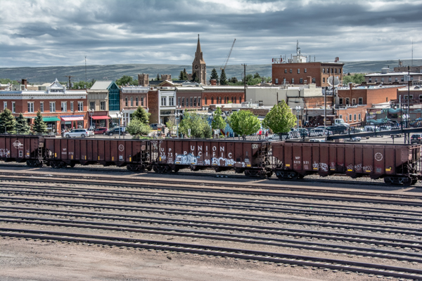 View of downtown Laramie across the railroad yard.