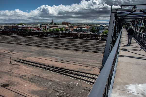 This pedestrian bridge takes us from our park across the RR yard into downtown - sweet!