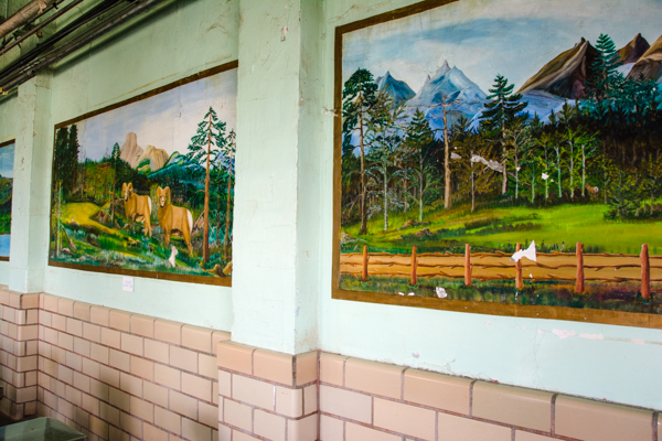 One of the prisoners painted these scenes on the walls.  In the painting on the left, the goats eyes follow you as you walk around the room - freaky!