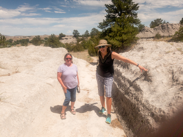 Nina and I check out the Oregon Trail Ruts - I think the Settlers need 4WD here!