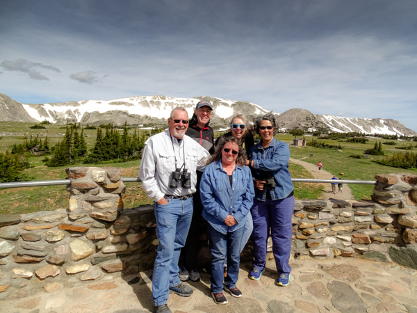 Jack, Matt, Me, Sherry and Nina huddle up to stay warm at Snowy Range Pass.  Thanks for this picture, Jack!