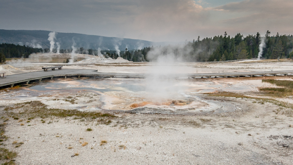 Morning view of trails near Old Faithful