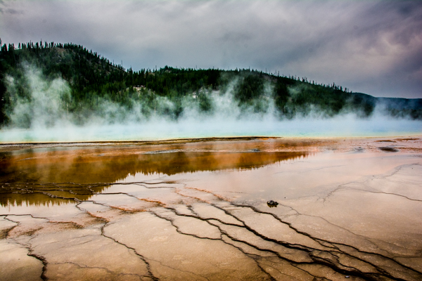 I mess up and do not get us to the overlook for the Grand Prismatic Spring - hard to capture the colors from the ground.