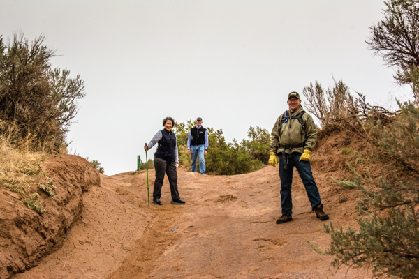 Jonathan (on the right) turns up about the time we give up on ever finding Moonshine Arch.  He allows us to follow him as he tracks it with his handheld GPS.  Thanks Jonathan!