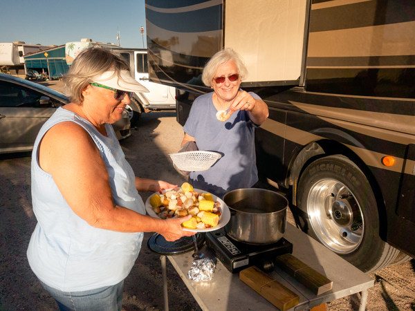 Local food is great, but Jane and Helen compete with their shrimp boil prepared at our rigs.  Check out the humongous shrimp (is that an oxymoron?)!