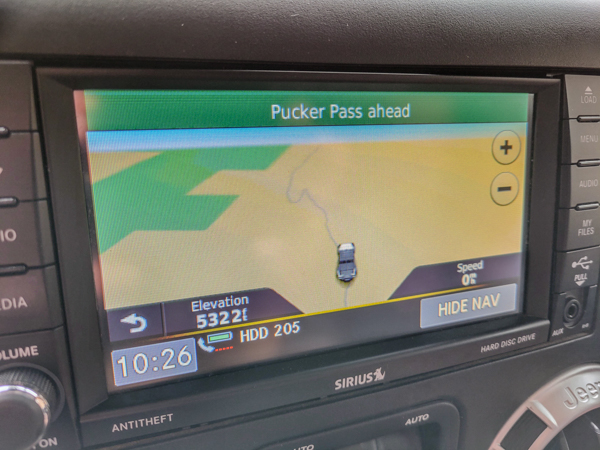 The GPS tells us of upcoming obstacle