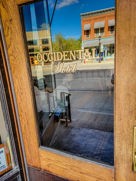 Entering the Occidental Hotel in Buffalo, WY