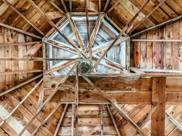 Looking up into the roof of the very old Fairgrounds main pavilion